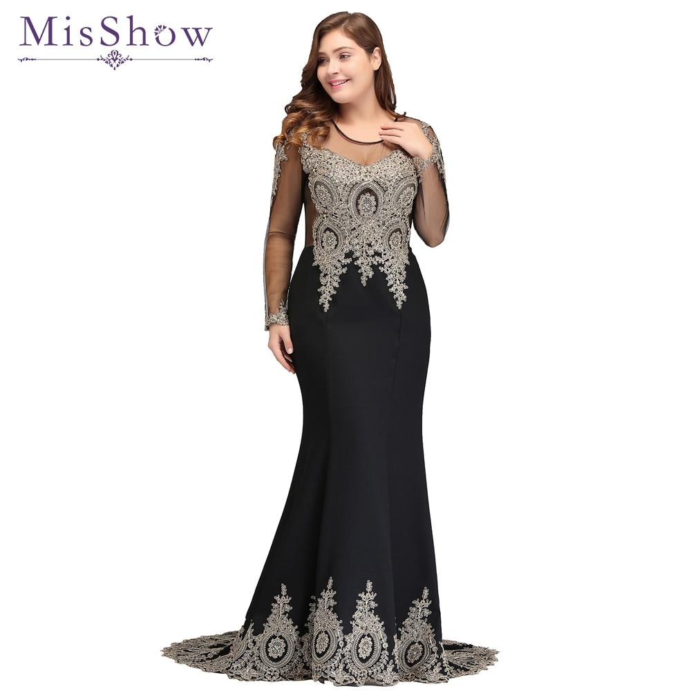 5d576b70303 Élégante mère de la mariée robe dentelle Satin 2019 sirène à manches longues  Applique noir longue formelle fête robes de soirée pour mariage