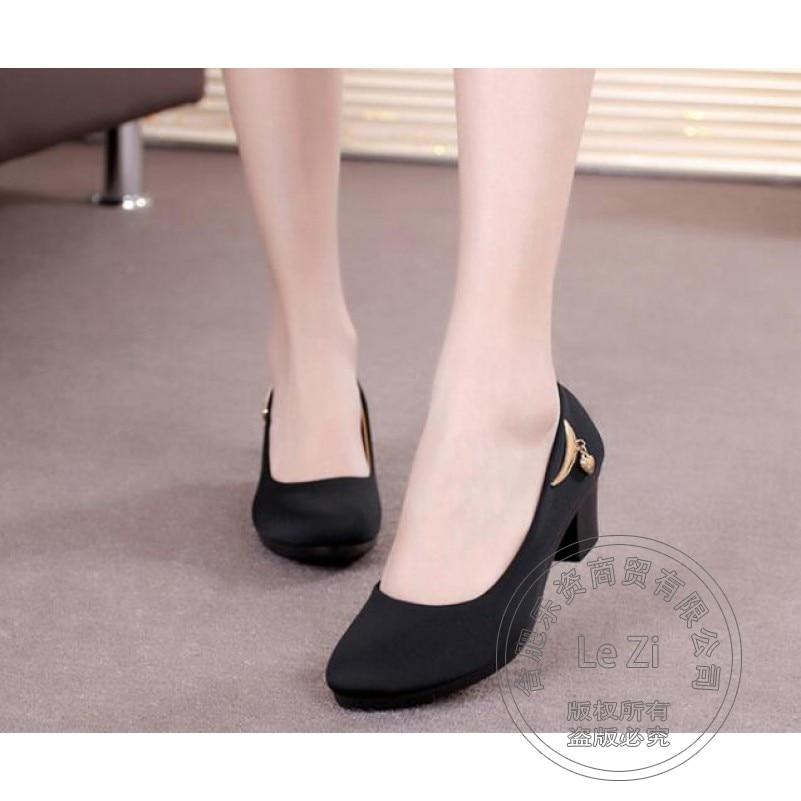 Black Slip On Cloth Chunky High Heels Thick Metal Prom Chinese National Dress Work font b