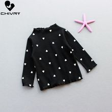 Chivry Spring Autumn 2019 New Little Girls Fashion Heart Print T-Shirts Kids Long Sleeve O-Neck Tops T Shirt Clothing