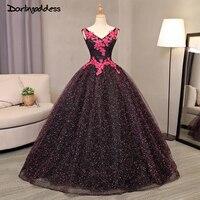 2017 Robe De Mariage Luxury Princess Bling Wedding Dress Deep V Neck 3D Flower Lace Backless