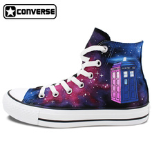 New Unique Police Box Tardis Galaxy Doctor Who Converse All Star Canvas Shoes Design Hand Painted Sneakers Skateboarding Shoes