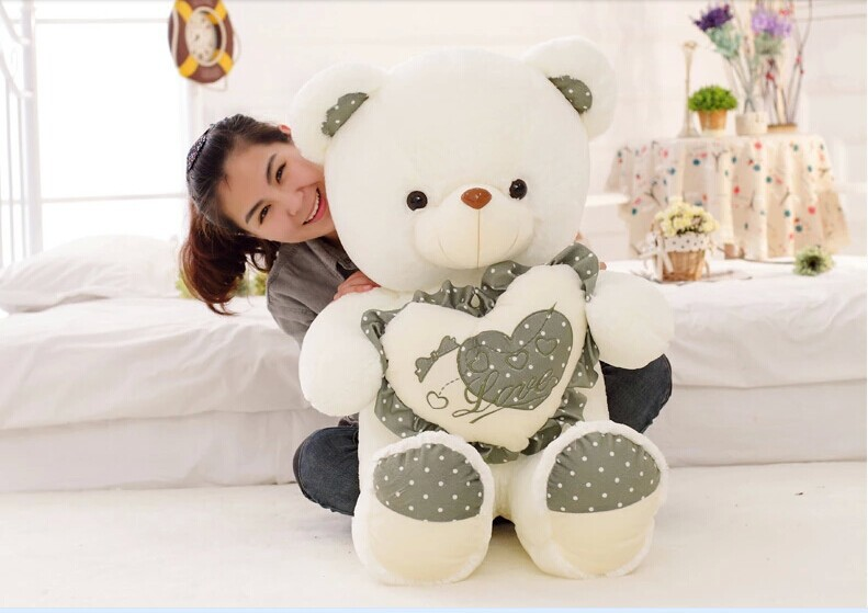 huge lovely green spots teddy bear doll hold green heart bear doll plush toy gift about 120cm big lovely pink teddy bear doll candy colours teddy bear with spots bow plush toy doll birthday gift about 120cm