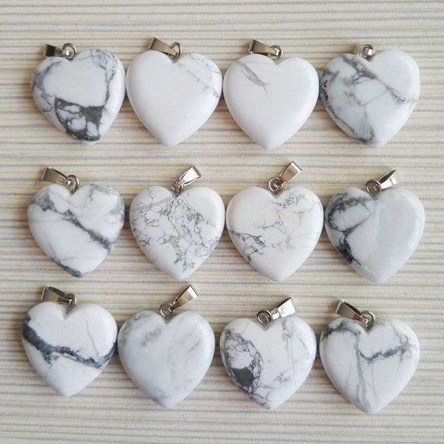 Wholesale 12pcslot 20mm natural howlite stone pendants charms love wholesale 12pcslot 20mm natural howlite stone pendants charms love heart white stone beads for aloadofball Images
