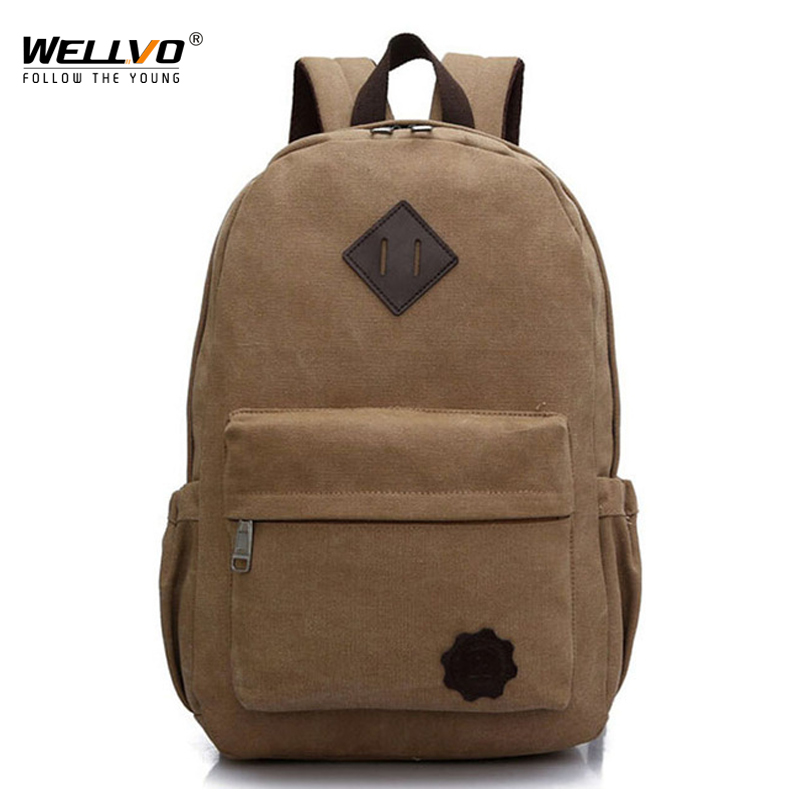 Canvas Laptop Backpack Men Teenage Boys Backpacks Large School Bag Vintage Students Travel Rucksack Shoulder Bags Black XA1054C new canvas backpack travel bag korean version school bag leisure backpacks for laptop 14 inch computer bags rucksack