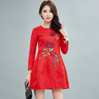 New embroidery floral full sleeve women dress ball gown dress