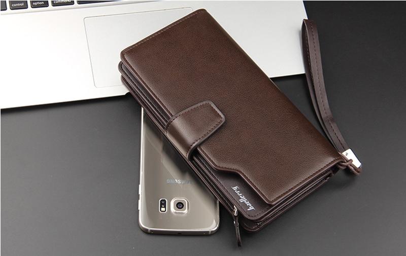 Top Quality leather long wallet men zipper wallets men women money bag pocket mltifunction brown one size 9