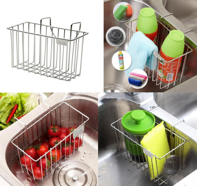new 304 stainless steel kitchen sink organizer for sponges scrubbers soap holder rack sink caddy rust - Kitchen Sink Organizer