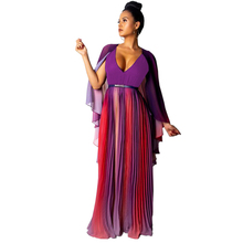 new women's chiffon dress big swing contrast color dress pleated shawl V-neck dress contrast mesh dress
