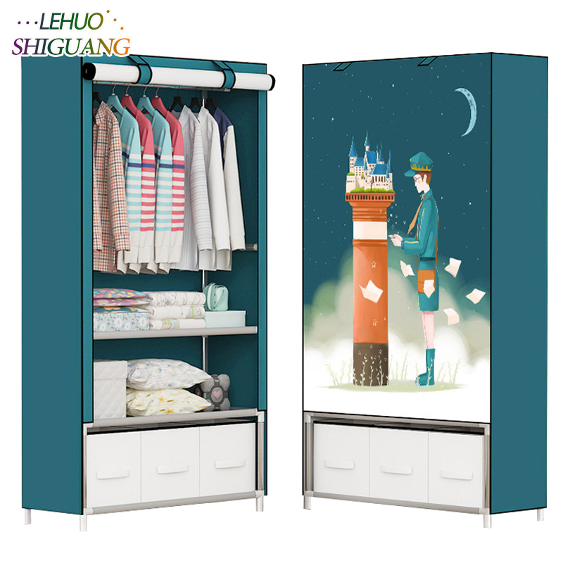 3D printing Dormitory single wardrobe with 3 drawer Non-woven Steel frame Storage Organizer Detachable Clothing Closet furniture romanson часы romanson tl0110slw bk коллекция adel