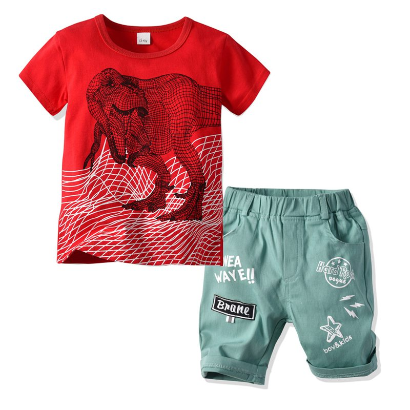 Toddler Boys Dinosaur Lion Clothes 2019 Kids Summer Clothes Children  Clothing Sets T-Shirts And Shorts