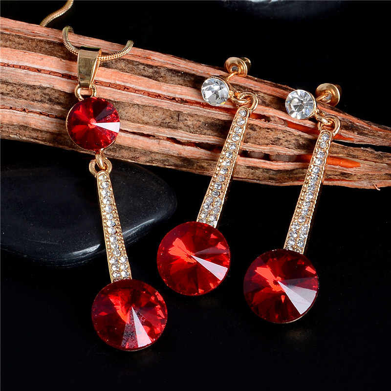 New Gold Color Pendants & Necklace Stud Earrings CZ Crystal Party Bridal Jewelry Sets Women Fashion Jewelry Accessories