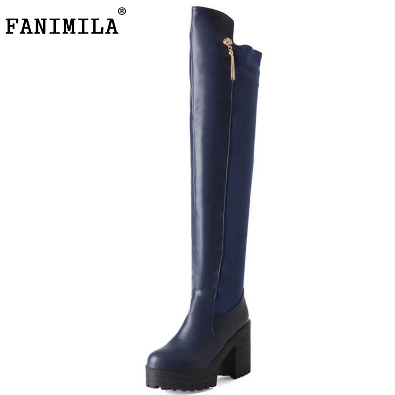 FANIMILA women high heel over knee boots fashion snow warm winter botas sexy militares brand footwear shoes P20260 size33-43 купить дешево онлайн