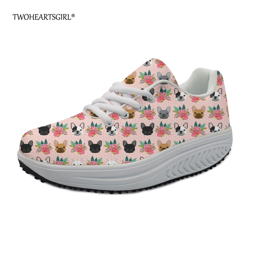 Twoheartsgirl Fresh French Bulldog Printing Platform Shoes for Women Pink Ladies Wedge S ...