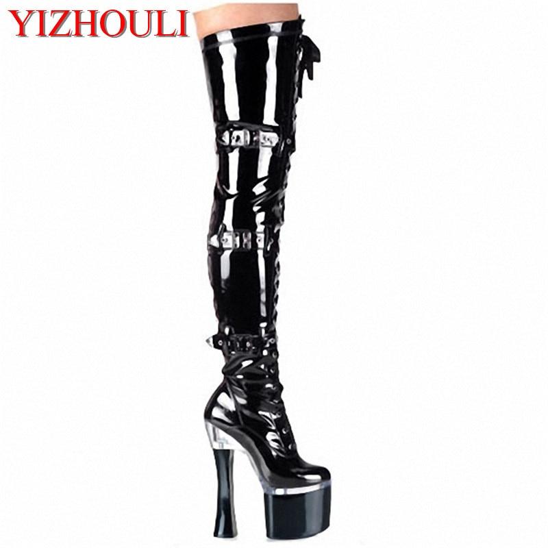 ̿̿̿(•̪ )18 cm zapatos de tacón alto Correa delantera talón grueso ...