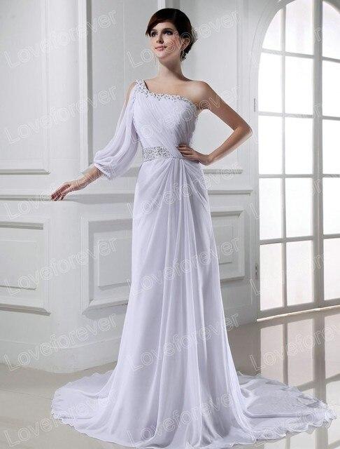 Beach Style White Chiffon One Shoulder Wedding Dress Long Sleeve