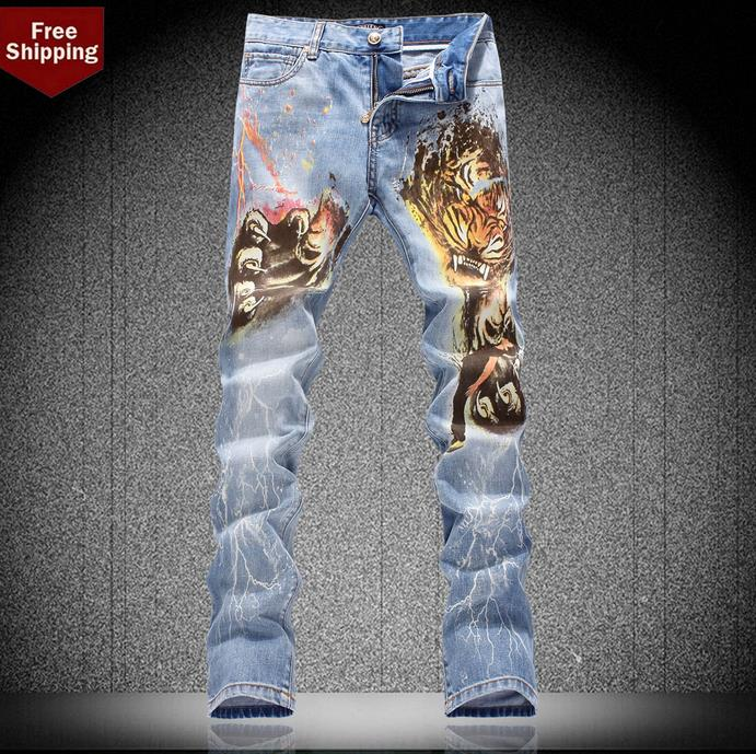 Spike ! Famous brand spring blue england straight tiger printed mens jeans haren pant man denim trousers skinny jeans fashion