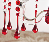 20pcs Lot 20x130mm Red Glass Water Drop Chandelier Pendants 20x80 Glass Water Drop With 2pcs Crystal