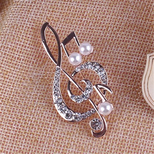 Элегантная брошь в форме музыкальной ноты для женщин Девушка платье аксессуары золотые Кристаллы Брошь Стразы шпильки 5,6 см * 3 см