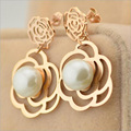 Luxury Love Gift Rose Gold Plated pearl jewelry Dangle Earrings For Women Brincos Boucle D'oreille Oorbellen Gypsy Earrings