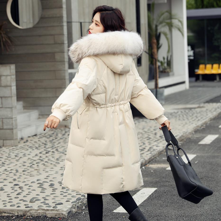 winter big real fur collar hooded white duck   down     coats   female Fluffy real fur thicker warm longer   down     coats   wq2225 wholesale