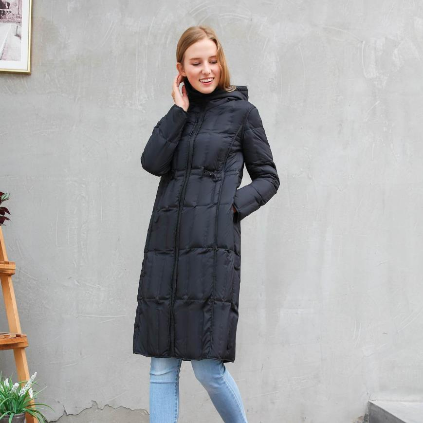 Winter new fashion brand hooded white duck   down   jacket female longer oversize sticthing hooded warm   down     coat   wq633 dropshiping