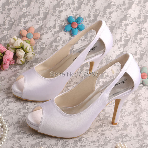 Wedopus MW075A Custom Handmade Peep Toe Plain Upper Wedding Shoes Bride White Satin