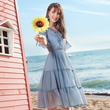 AcFirst Summer Women Blue Chiffon A-Line Dress V Neck Evening Party Lady Sexy Dress Plus Size Sweet Dresses Holiday Butterfly цена