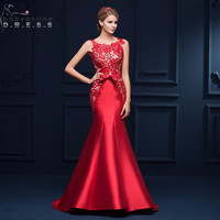 Robe De Soiree Longue Elegant Red Lace Mermaid Evening Dress 2016 Charming Satin Appliques Evening Gown Vestido de Festa