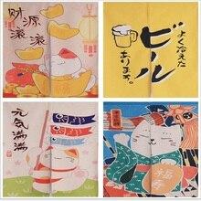 XIAOKENAI Japanese-style 85X120cm 85X150cm Tube Curtain Thick Cotton Linen Doorway  Lucky Cat The Bedroom Cloth Cartoon