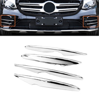 JEAZEA Car Sstyling 4pcs/set ABS Chrome Front Fog Light Grile Lamp Cover Sticker Trim Strip For Mercedes Benz GLC 2017 2018