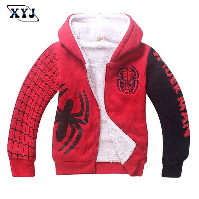 2017 Traje de Spiderman Para Niños Chaqueta Deportiva Outwear Niño Súper  hero gruesa campera de abrigo 70d8f1c9a70f9
