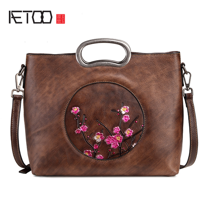 AETOO Leather womens handbag, retro shoulder oblique cross bag, casual womens bag, handmade wipe color lady postman bagAETOO Leather womens handbag, retro shoulder oblique cross bag, casual womens bag, handmade wipe color lady postman bag
