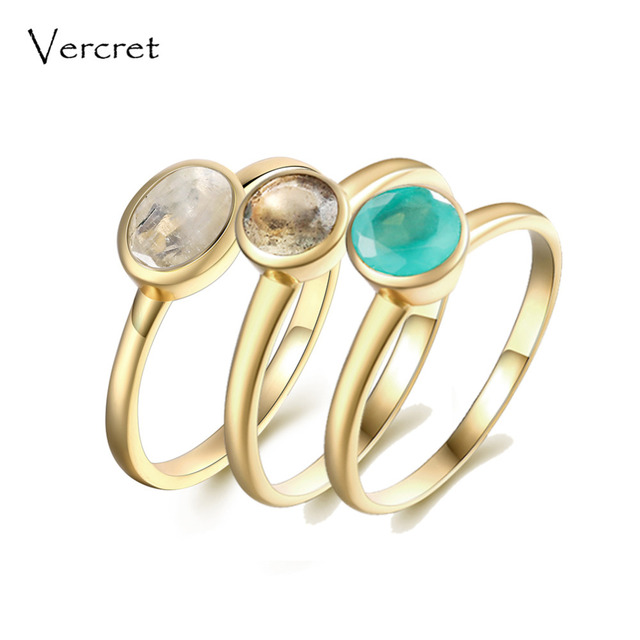 Vercret moonstone ring for women stackable rings 925 sterling silver gold moonst