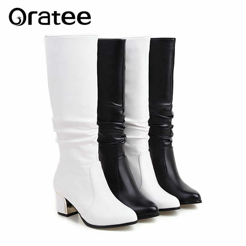 Short boots white women with thick boots long autumn and winter was thin Jane Martin high simple boots