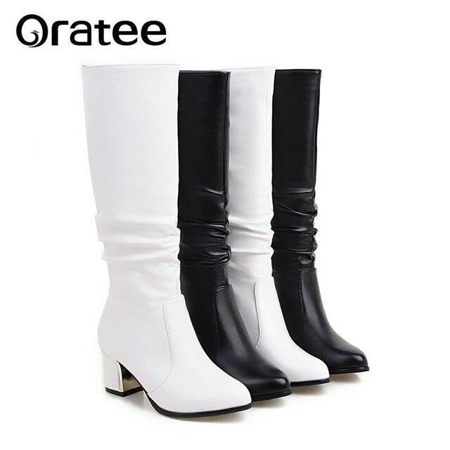 Khởi động ngắn trắng phụ nữ với boots dày dài mùa thu và mùa đông là mỏng Jane Martin cao khởi động đơn giản