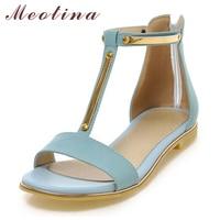 Plus Size 9 10 Fashion Lady S Sandals Summer Open Toe T Strap Flats Female Zip
