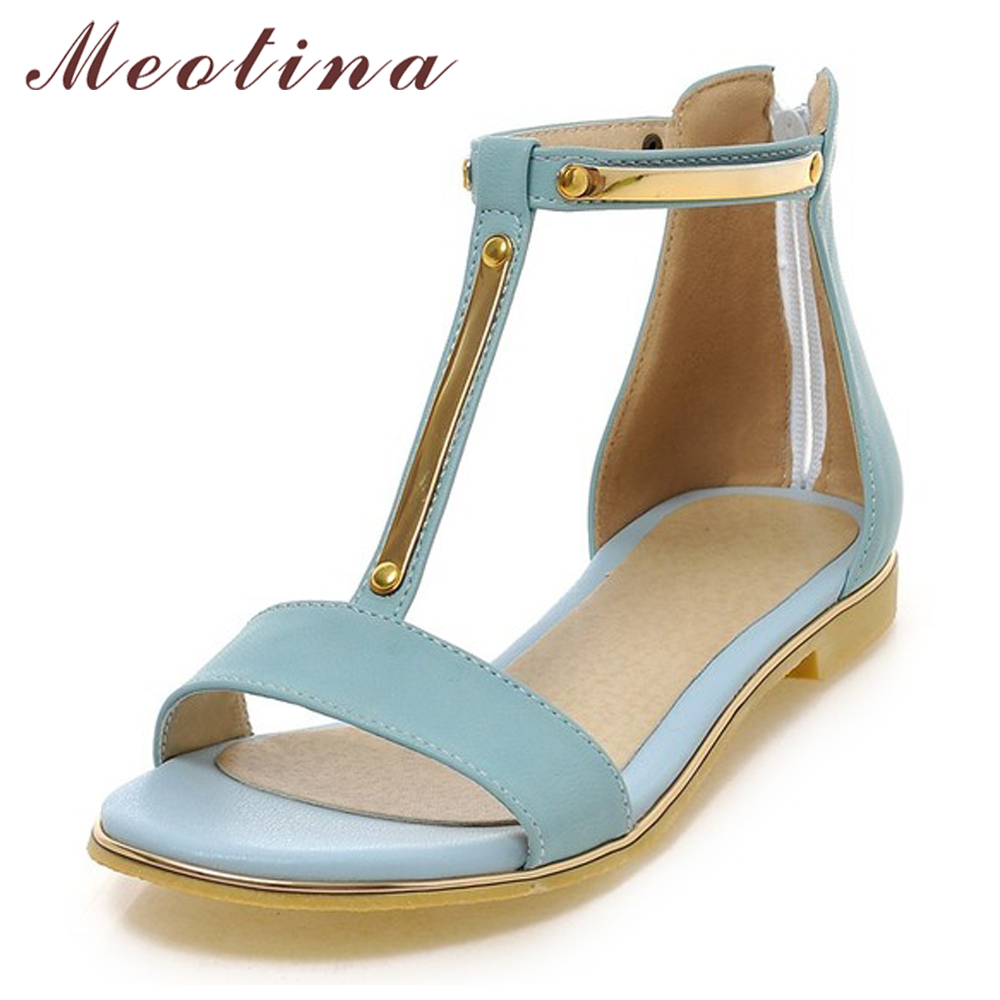 Meotina Shoes Women Sandals Summer Open Toe T-Strap Flat Sandals Flats Zip Sequined Beach Shoes White Ladies Shoes Size 42 43 prorab 6408 нк