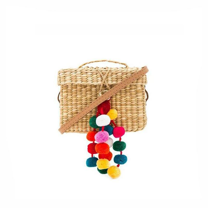 Fashion mini Beach Bags Pompom Tassel Handmade Weave Straw women Handbags Summer Bohemia Shoulder Bags Women Straw tote bag