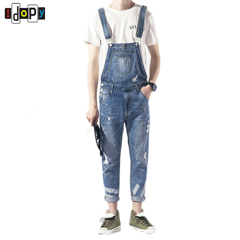 Fashion Style Mens Denim Bib Overalls Vintage Washed Slim FIt Jeans Jumpsuits For Youth And Men 2016 brand mens denim overalls fashion bib jeans skinny overalls for men hole slim black and white suspender pants m xxl