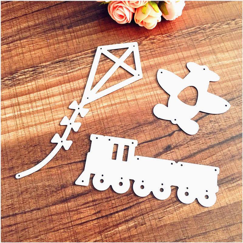 Metal Cutting Dies Stencils Train Plane Kite Shape DIY Scrapbooking  Embossing Album Paper Card Craft Template Decoration