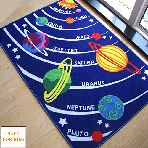 Kids Rug Educational Galaxy Planets Stars Blue Solar System Shape Carpet And Rugs Room