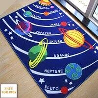 Kids Rug Giáo Dục Galaxy Hành Tinh Stars Rug Xanh Năng Lượng Mặt Trời Hệ Thống Hình Dạng Thảm Thảm và Chăn Trẻ Em Phòng Bé Chơi Bò Pad