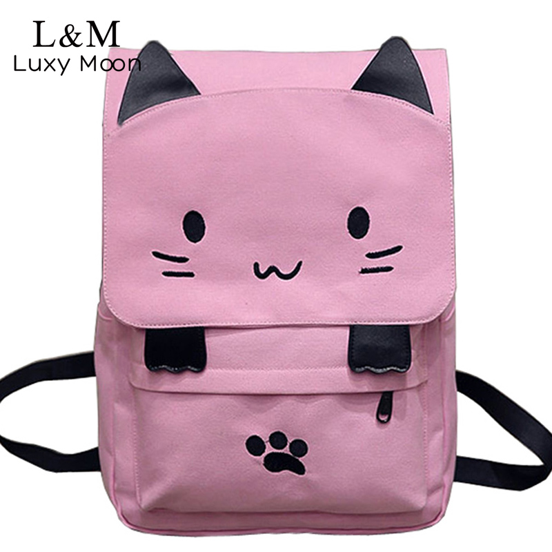 Cute Cat Canvas Backpack Cartoon Embroidery School Bag For Teenage Girls Backpacks Casual Ears Large Bags
