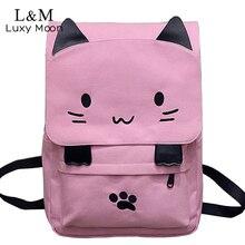 Милый Кот холст рюкзак мультфильм Вышивка школьная сумка для девочек-подростков Рюкзаки Повседневная уши большие Сумки розовый Mochila XA909H