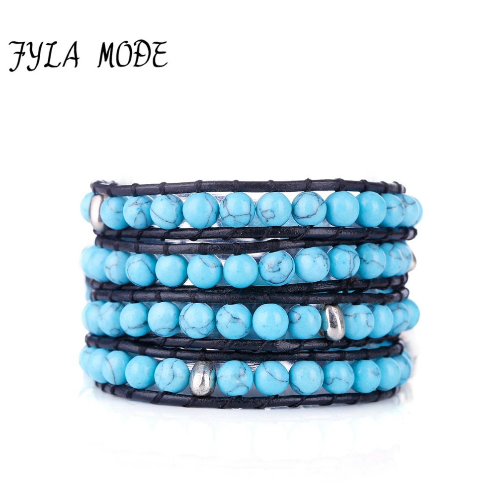 Fyla Mode Hot Sell Hand Wrap Leather Bracelets Wholesale 6mm Blue Stone Beaded  Leather 4 Wraps Bracelets Boho Jewelry