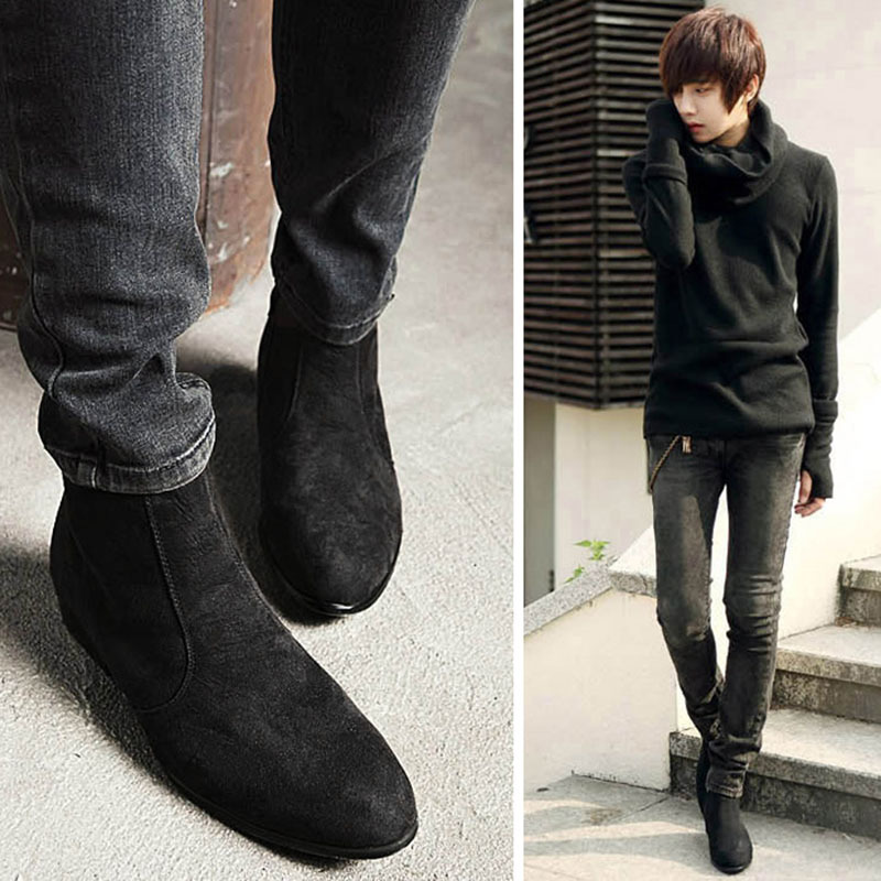 retail prices wholesale dealer genuine shoes Chelsea Boots Men Autumn Early Winter High Top Ankle Boots Pointed ...