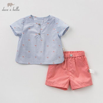 DB11506 דייב bella קיץ תינוק בני אופנה קובע מזדמנים קצר שרוול חליפות ילדי כחול הדפסת בגדים