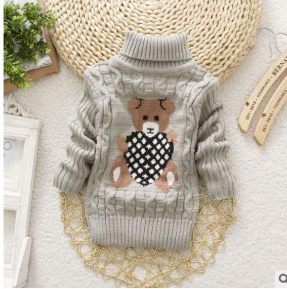 2017 Autumn and winter new boys and girls turtleneck sweater shirt cute cartoon cute multicolor optional 0-2Y