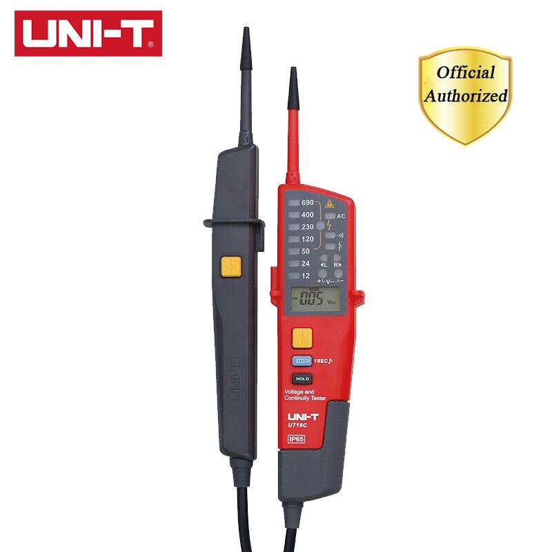 UNI T UT18C 0 690V AC DC Voltage Testers LCD Display Auto Range IP65 Waterproof Meter RCD Test Polarity Detection No Power Test in Voltage Meters from Tools