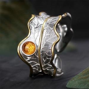 Image 3 - Lotus Fun Real 925 Plata de Ley turmalina Natural diseño hecho a mano joyería fina anillos de hoja de peonía ajustables para mujeres Bijoux